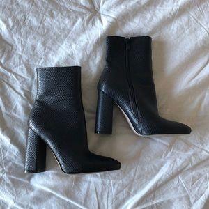 Boohoo black reptile print block heel bootie